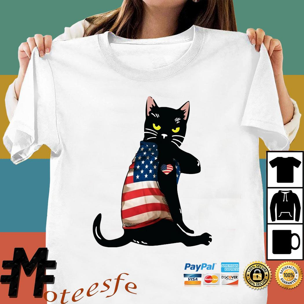 Black Cat Tattoo Heart American Flag Shirt